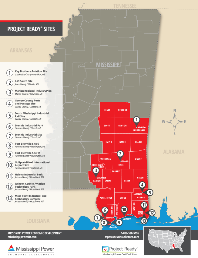Map of Mississippi project ready sites