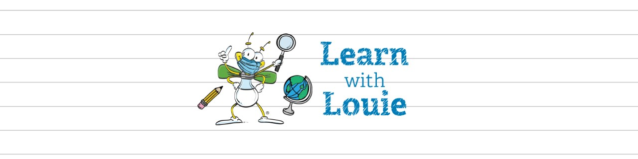 Learn with Louie header with louie the lightning bug with mask