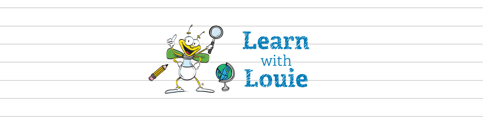 Learn with Louie header with louie the lightning bug