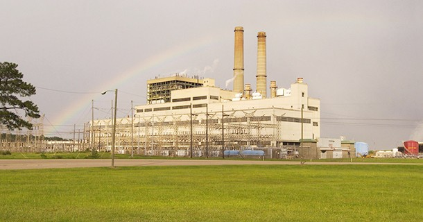 Rainbow over a power plant